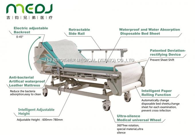 Multifunction Hospital Examination Bed 605-805mm Height With Protective Guardrail