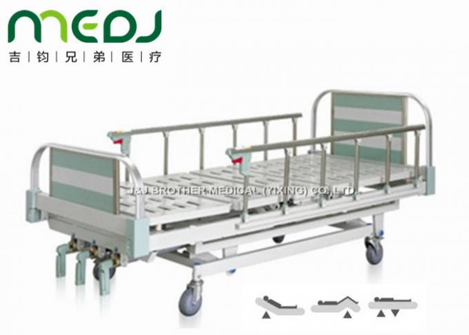 Green Manual Hospital Bed Height Adjustable Three Cranks Steel Frame MJSD05-10