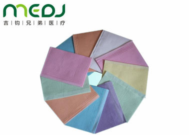China Colorful Dental Disposable Bibs , Tissue Paper And PE Film Disposable Bibs For Adults supplier