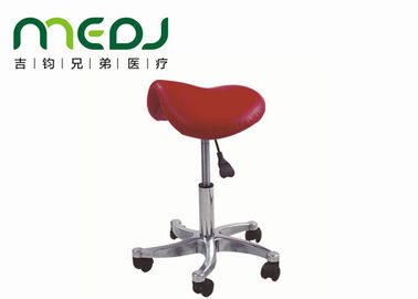 China Dentist Saddle Ergonomic Chair Red Leather Seat 5 Movable Wheels MJYZ01-07 supplier