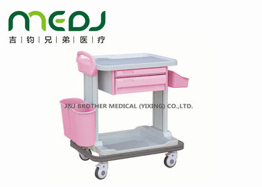 China Anti Collision Hospital Medicine Trolley MJTC01-12 Pink With Handle / Basket supplier