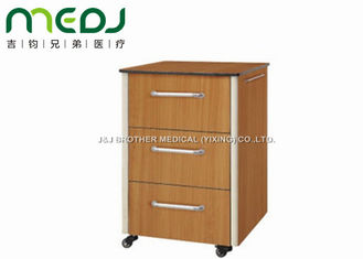 China Classic Hospital Bedside Cabinet , Wood Board Hospital Bedside Carts With Three Drawers supplier
