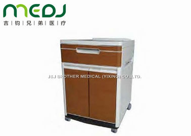China ABS Brown Locker Hospital Bedside Cabinet MJCG01-10 Two Doors 4 Castors supplier