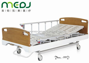 Critical Care Manual Hospital Bed , Wood Foldable Hospital Bed With Central Brakes