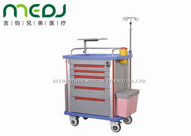 Luxurious Hospital Medicine Trolley , ABS Single / Double Side Mobile Medical Cart