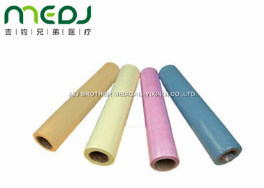 OEM Colorful Disposable Bed Sheet Roll , 40mm Core Dia Hospital Paper Bed Roll