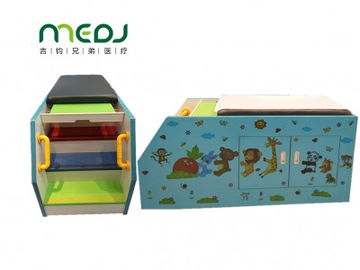 China Ultrasound Pediatric Examination Table Blue Zoo Cartoon Solid Wood Massage Bed factory